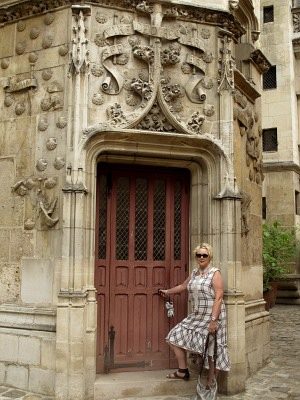 Cheryl wearing her Ivey Abitz Evie Frock, Cilla Slip Frock, and Wildefield Sash in Paris.