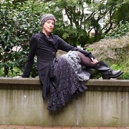 Wearing Ivey Abitz bespoke clothing after a double mastectomy.