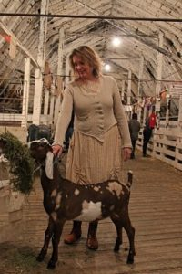 Karen wears her Ivey Abitz bespoke Canterbury Cardigan and Fennefleur Frock at the county fair.