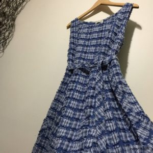 Addy Frock in Lake Tufted Plaid Voile by Ivey Abitz