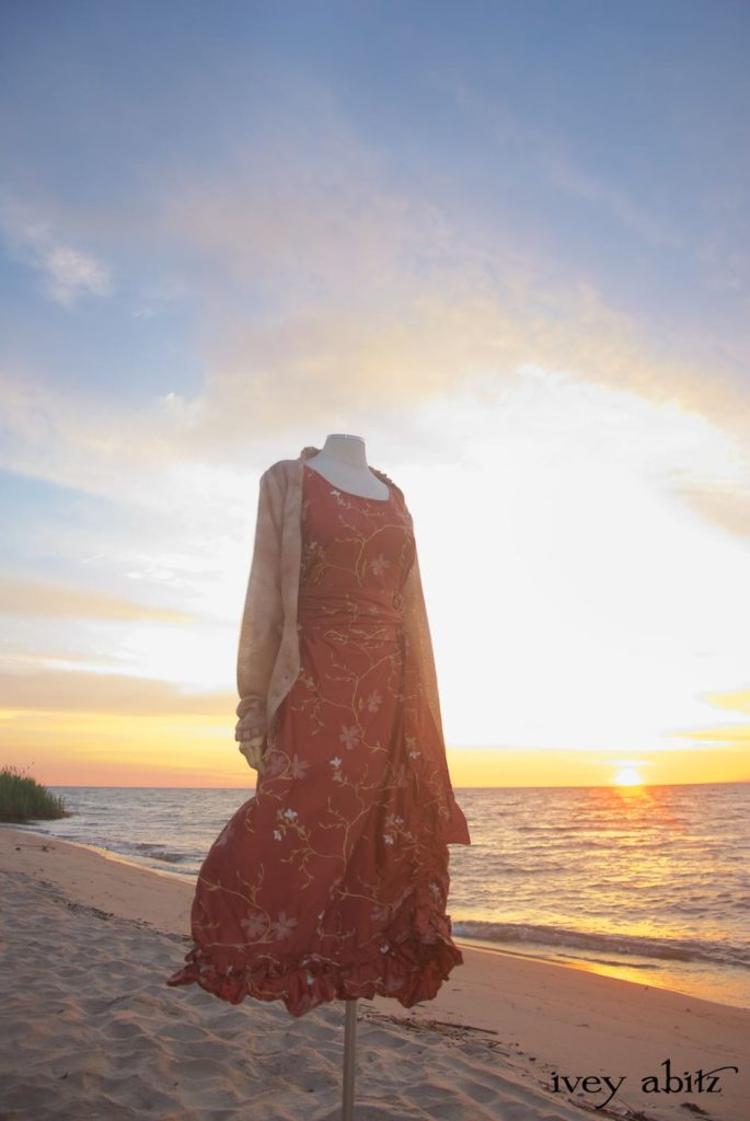 A look from the Midsummer 2018 Ivey Abitz Bespoke photoshoot on the beach of Lake Huron at sunrise.