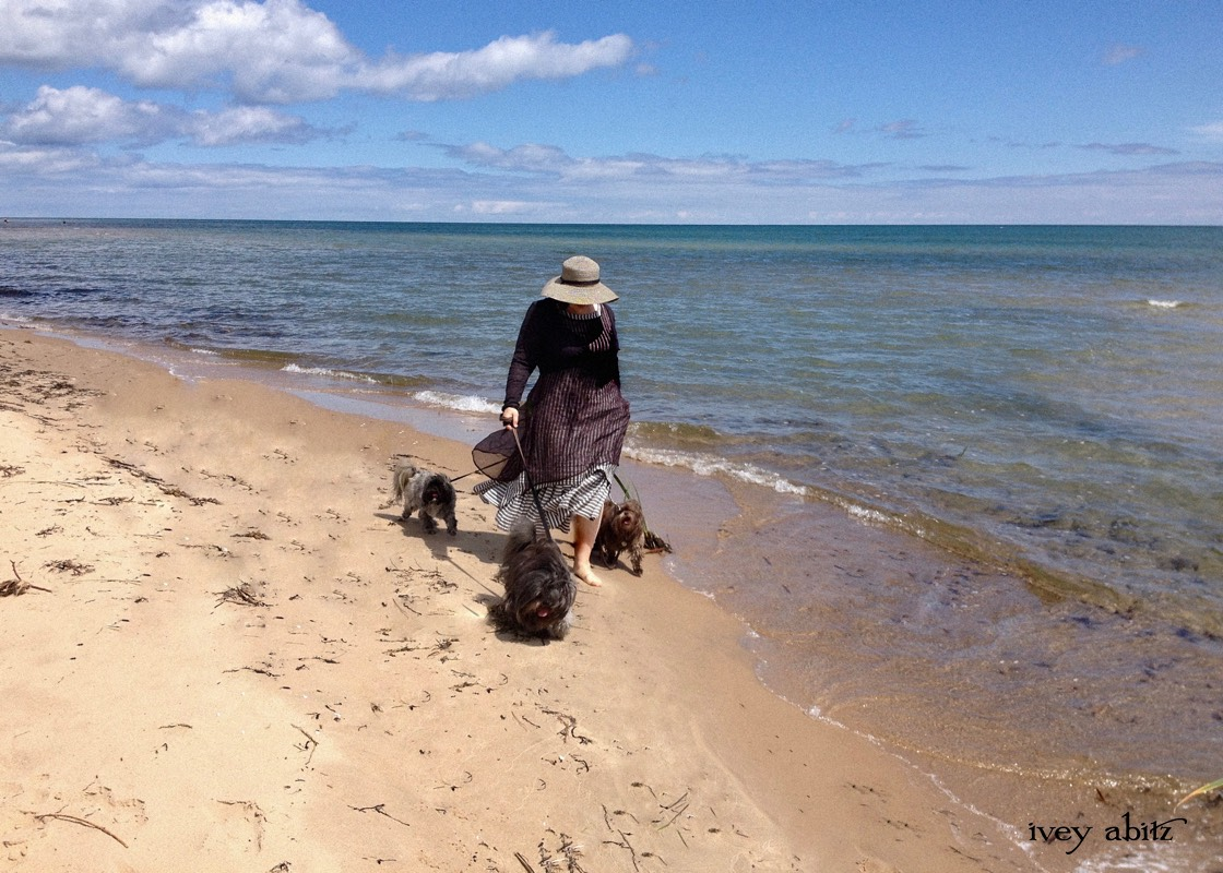 Cynthia Ivey Abitz, clothing designer, walks Lake Huron with her rescue dogs.