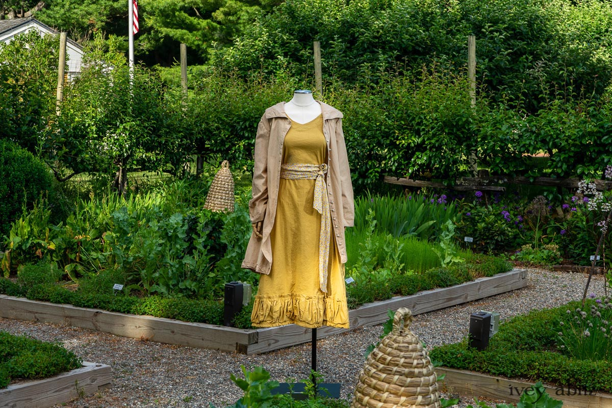 Ivey Abitz Look 9 from Collection no. 63 Sartorial Sanctuary. Bespoke clothing for women. In an herb garden at Boscobel.